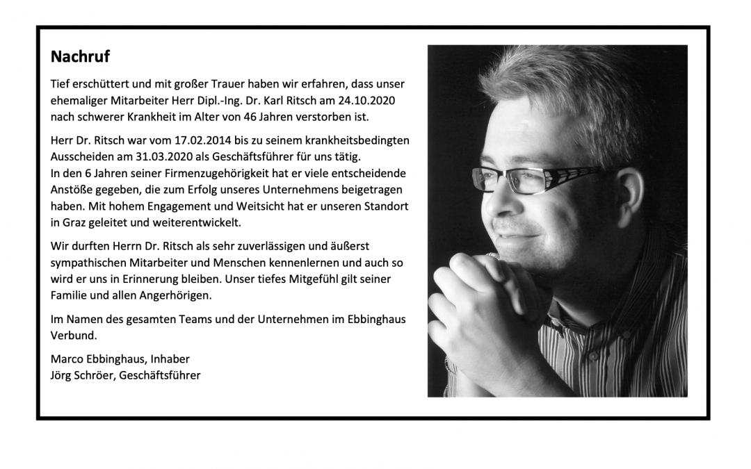Nachruf Dr. Karl Ritsch